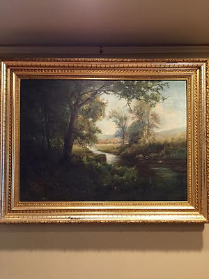 Beautiful Large Oil Painting-British School River Scene 19th century