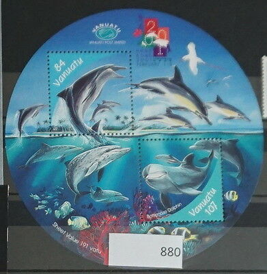 S0 0880 Whales, Dolphins Vanuatu MNH 2001 Coral Reef