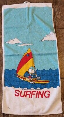 Peanuts Snoopy Surfing Hand Beach Towel Charlie Brown Vtg 1953 Charles Schulz