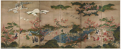 """Japanese antique screen painting 95"""" very big size Admire maple by Kano Hideyori"""