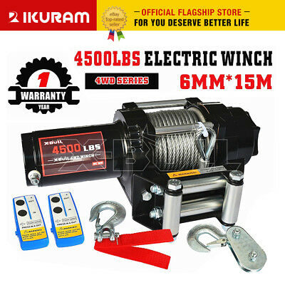 Wireless 4500LBS/2041kg 12V Electric Winch Boat ATV 4WD Steel Cable 2 Remote NEW