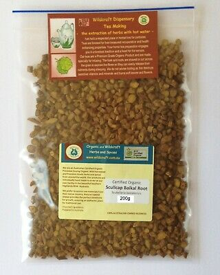 SCULLCAP ROOT Baikal 100g Scutellaria baicalensis Certified Organic Dried Herb