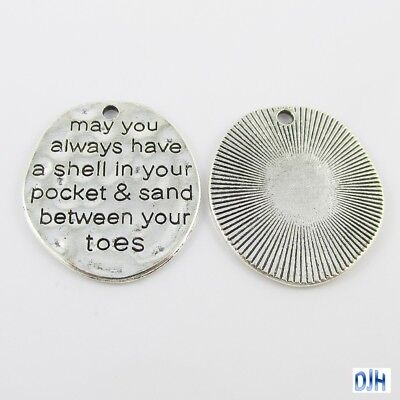 Bulk Shell in your Pocket Charm Pendant Inspirational Message 30x26mm Select Qty