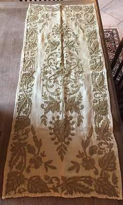 Ottoman 1800s Gold Thread Embroidered Tablecloth Turkey Handmade Silk