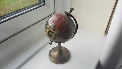 Small 8 cm Vintage Ancient World Globe on Brass Stand