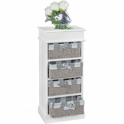Baskets Chest of Drawers Unit Wicker cabinet Shelf bathroom bedroom White Grey