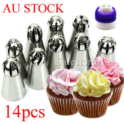 14x Sphere Ball Russian Icing Piping Nozzles Tips Cake Decorating Baking Tools