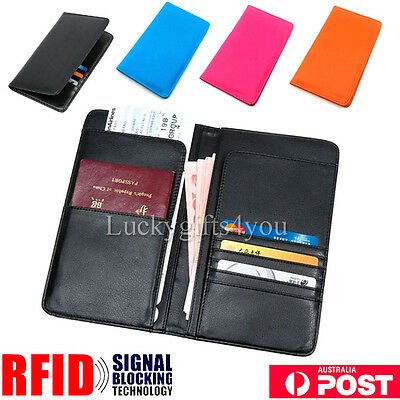 AU Travel Wallet RFID Blocking Anti Scan Long Passport Holder Synthetic Leather