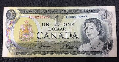 1973  Bank Of Canada One Dollar Old Paper Note Rare