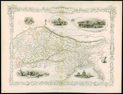 """c1850 """"NORTHERN INDIA"""" Antique Map by Tallis with Vignette engravings Tiger Hunt"""