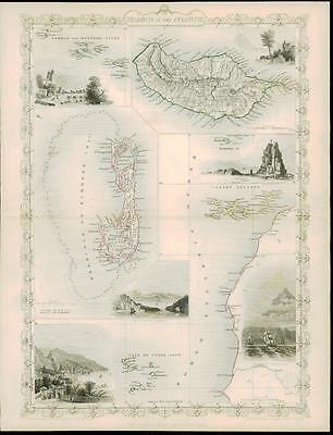 "c1850 ""ISLANDS IN THE ATLANTIC"" by Tallis BERMUDA MADEIRA CANARY ISLANDS AZORES"