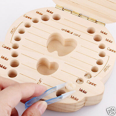 Creative Personalized Wooden Fairy Tooth Box Organizer Milk Teeth Save For Baby