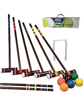 Croquet Set 6 Player New Complete Garden Game with Balls & Mallets & Carry Case