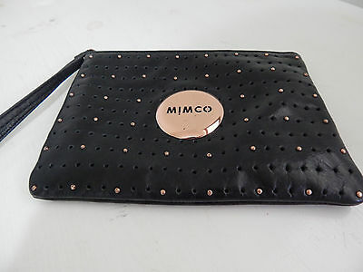 MIMCO Black Genuine Leather Medium Pouch Rose Gold Coin Purse Zip