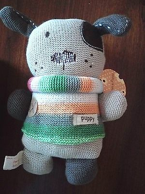 Mamas and Papas Soft Knit Toy Soft Puppy First Baby Toy suitable 0 months Plus