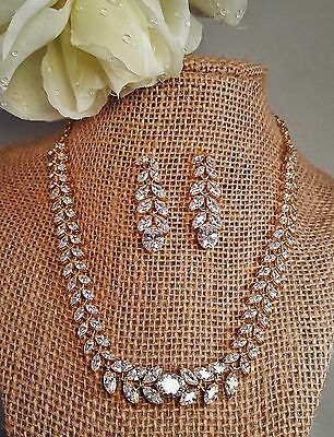 Radiant Wedding Marquise Gold Plated Cubic Zirconia Necklace Set