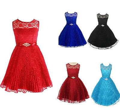 UK Girls Summer Dress Kids Lace Floral Party Dress Age 2-12 Years Wedding Formal