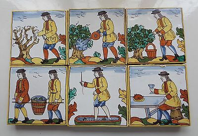 Antique Spanish Majolica 'professions' Winemaking Tile Panel