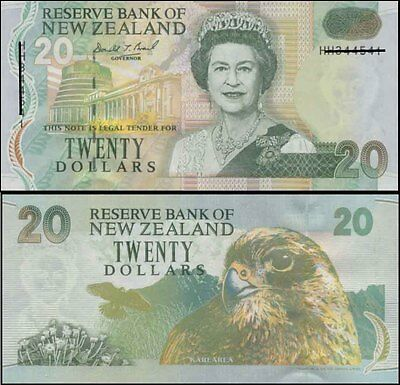 New Zealand Mint Last $20 Brash GS Modified Green Tint Paper Banknote issue p183