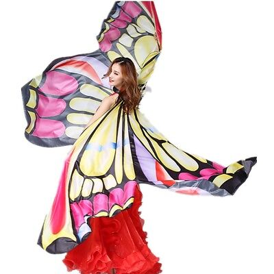 New Butterfly Wings&Stick&Bag Belly Dance Costume Isis Wing Egyptian Dancer Wear