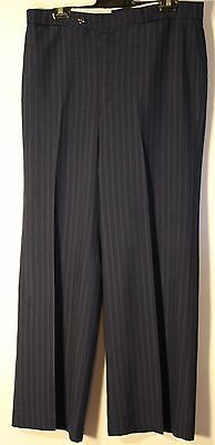 MEDIUM, 36R.1970's BLUE STRIPED PANTS,STYLED BY CITY TAILORS. ORIGINAL VINTAGE.