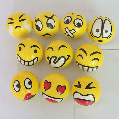 2 Anti Stress Smiley Face Reliever Ball Autism Mood Squeeze Relief ADHD Toy Gift