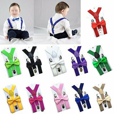 Baby Kids BOY Girl Classic Pre-tied Bow Tie Elastic Y-Back Braces Suspenders k^