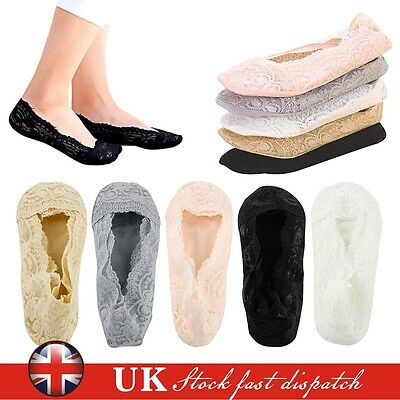 5Pairs Womens Ladies Skin Shoe Liners Footsies Invisible Thin Lace Socks Sheer