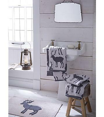 Catherine Lansfield Stag Grey Jacquard 100% Cotton Luxury Bath Towels & Mat
