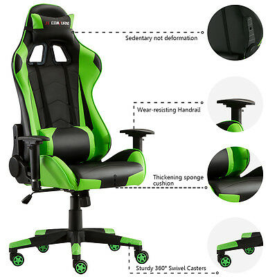 Computer Racing Gaming Sports Lift Chair Executive Recliner Faux Leather Green