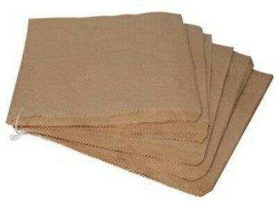"200 x Brown Kraft Strung Paper Bags 8"" x 8"" Fruit Sweets Crafts Picnic Groceries"