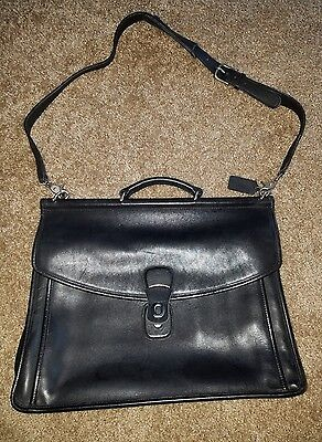 Coach 5266 Beekman Black Leather Briefcase Messenger Bag