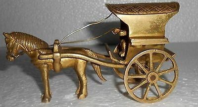 India Vintage Brass Horse Cart Deco Piece. Hand Made And Hand Forged. s795