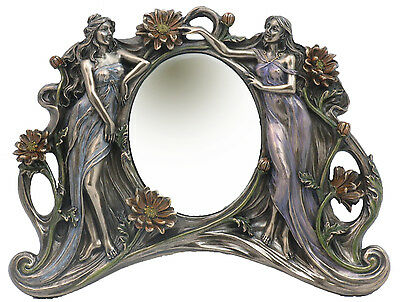 Veronese Bronze Figurine Art Nouveau Table Mirror Gift Home Decor