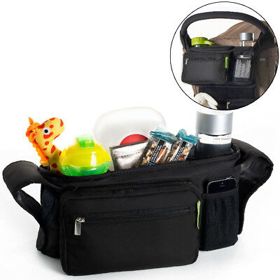 Kids Baby Stroller Safe Console Tray Pram Hanging Black Bottle Cup Holder Bags