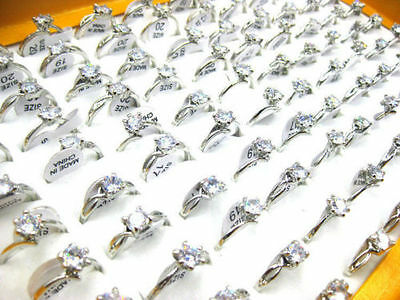 FREE Wholesale Mixed Jewelry 30pcs Resale Zirconia Stainless Steel Women's Rings