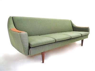 Vintage Norwegian Green Wool Teak 4 Seater Double Sofabed Midcentury Sofa 1960s