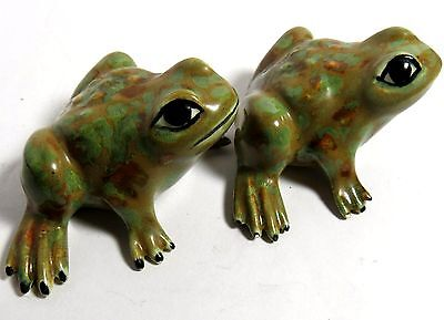 Vintage Two Hand-Painted Collectible Ceramic Frog Figurine
