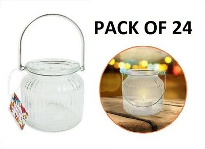 Glass Tea Light Holder Candle Clear Table Decoration Party BBQ Wedding x 24