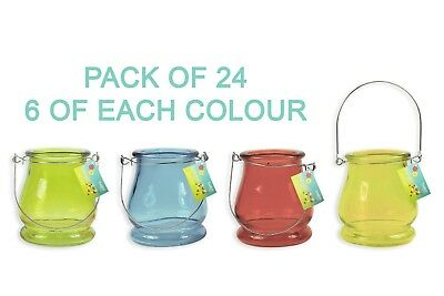 Coloured Glass Tea Light Holder Candle Table Decoration Party BBQ Wedding Handle