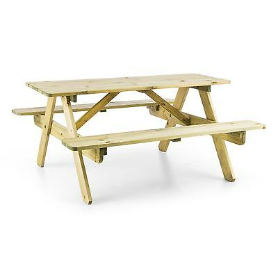 PINE WOOD GARDEN BENCH TABLE PICNIC OUTDOOR WEATHERPROOF 120 x 57 x 120 cm