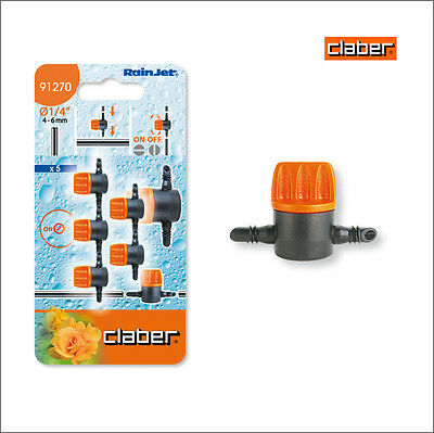 "Claber RainJet 1/4"" Shut Off Valve. Pack of 5 model 91270.  Drip Irrigation"
