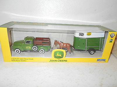 JOHN DEERE 1/43 Scale 1950 Chevy Truck With Horse & Trailer Die Cast - New