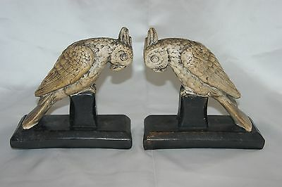 Pair of vintage carved resin parrots on bases birds figures book ends
