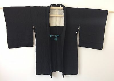 Authentic Japanese black haori jacket for kimono, with himo, Japan import(K1460)