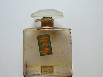 Antique Emeraude by Coty Perfume Bottle Paper Labels Beveled Stopper