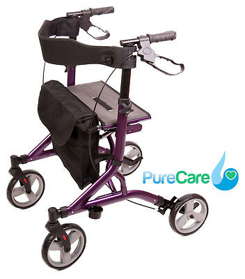 5.5kgs Purple Ultra Lightweight Rollator Folding Walking Frame Mobility Wheel
