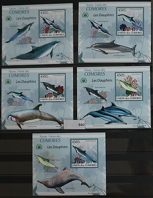 S0 0840 Whales, Dolphins Comores MNH 2009 Dolphins Imperforated Luxury