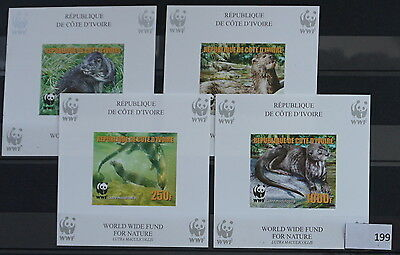 S0 0199 WWF Animals Ivory coast MNH 2005 Otter Reprint 4 Delux Imperf Set