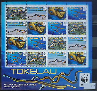 S0 0315 WWF Animali Tokelau MNH 2011 Giallo Dal ventre Sea Serpente